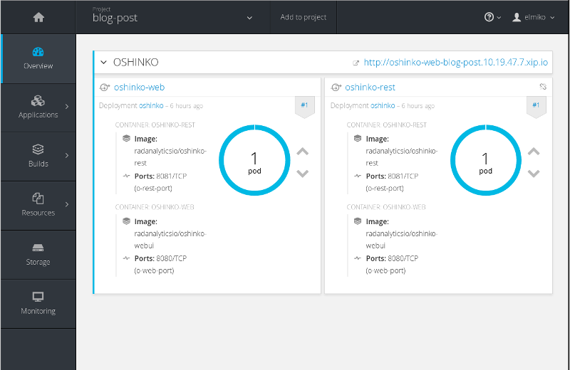OpenShift project view